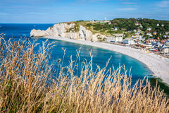 Klippen van Etretat, Normandië, Frankrijk Royalty-vrije Stock Foto