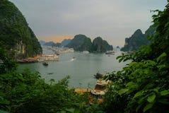Klippen van Halong-Baai bij zonsondergang Royalty-vrije Stock Foto's