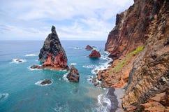 Klippen van Ponta DE Sao Lourenco schiereiland - het eiland van Madera Stock Fotografie