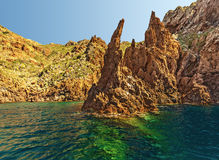 Klippen von Scandola-Küstenlinie stockfoto
