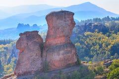 Klippenfelsen schließen oben, Belogradchik, Bulgarien Stockbild