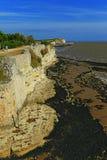 Klippengezicht en carralets, talmont-sur-Gironde, Frankrijk Royalty-vrije Stock Afbeelding