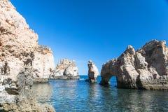 Klippenküstenlinie in Lagos, Algarve, Portugal Stockfotografie