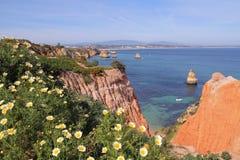 Klippenküstenlinie in Lagos, Algarve, Portugal Lizenzfreies Stockbild