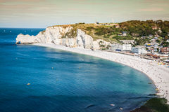 Klippor av Etretat, Normandie, Frankrike Royaltyfri Foto