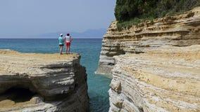 Klippor i Sidari, Korfu, Grekland Royaltyfri Fotografi