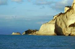 Klippor på ön av Corfu Royaltyfria Foton