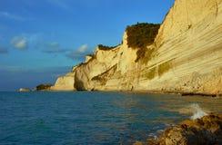 Klippor på ön av Corfu Fotografering för Bildbyråer