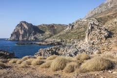 Klippor på Falasarna, Kreta, Grekland Royaltyfria Bilder