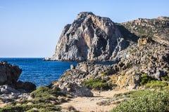 Klippor på Falasarna, Kreta, Grekland Arkivbild