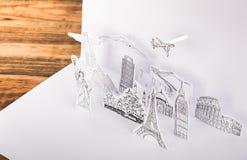 Klippt papper (Japan, Frankrike, Italien, New York, Indien, Egypten) Royaltyfria Bilder