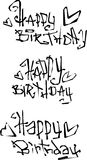 Klippta ut vätskelockiga grafittistilsorter för lycklig födelsedag önska Royaltyfria Bilder