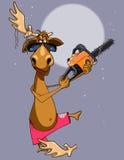 Klippte den roliga älgen för tecknade filmen med nudlar på hornet till mig hornet en chainsaw Royaltyfri Fotografi