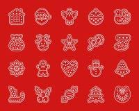 Klippte enkelt papper för Xmas-pepparkakan symbolsvektoruppsättningen royaltyfri illustrationer