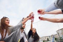 Klirra exponeringsglas med alkohol och rosta, parti royaltyfria foton
