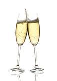 klirra sparkling wine två för exponeringsglas Arkivbild