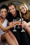 Klirrende Gläser der glücklichen Begleitung Lizenzfreies Stockfoto