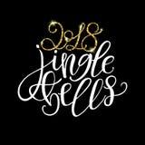 2018 klirrklockor - guld blänker och vit textur på svart tillbaka Royaltyfri Foto