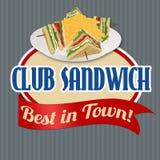 Klistermärke eller etikett för klubbasmörgås stock illustrationer