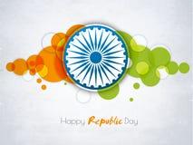 Klistermärke eller etikett för lycklig indisk republikdagberöm Royaltyfri Fotografi
