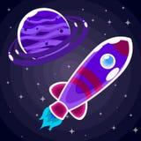 Klistermärke en purpurfärgad utrymmeraket med en hyttventil som flyger förbi en purpurfärgad planet Royaltyfri Bild
