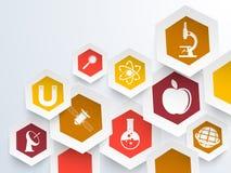 Klistermärke, etikett eller etikett för vetenskap Arkivbilder