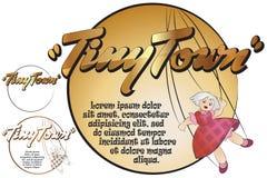 Klistermärke för ditt meddelande Leksaker i mycket liten stad Docka royaltyfri illustrationer