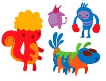 Klistermärke för djur för gigantiskt för teckenvektor roligt för design för beståndsdel för humor för emoticon för fantasi uttryc stock illustrationer