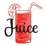 Klistermärke för fruktfruktsaft i vattenfärgstil Arkivfoton