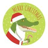 Klistermärke för krokodilSanta Claus runda stock illustrationer