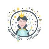 Klistermärke för prins Fairy Tale Character flickaktigt i rund ram Arkivbild