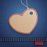 Klistermärke för pris för jeanshjärtalåda Royaltyfri Bild