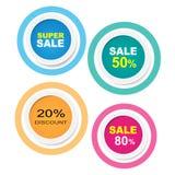 Klistermärke för samling för Sale etikettcirkel med skugga Arkivfoton