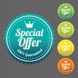 Klistermärke för specialt erbjudande och etikettstappning och lutning Royaltyfri Bild