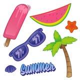 Klistermärke för uppsättning för sommartid vektor illustrationer