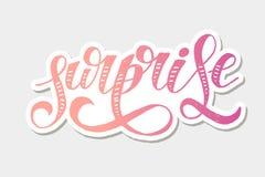 Klistermärke för vektor för ferie för text för borste för överraskningbokstäverkalligrafi vektor illustrationer