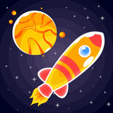 Klistermärke i form av en orange raket som flyger förbi en orange planet med tre satelliter Royaltyfri Bild