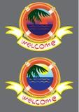 Klistermärke två (välkomnande) Fotografering för Bildbyråer