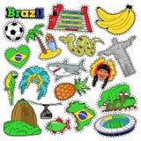 Klistermärkear för den Brasilien loppurklippsboken, lappar, förser med märke Royaltyfri Foto
