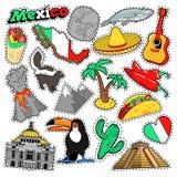 Klistermärkear för den Mexico loppurklippsboken, lappar, förser med märke Royaltyfri Bild