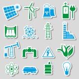Klistermärkear för elektricitets- och energisymbolfärg ställde in eps10 Arkivfoton
