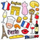 Klistermärkear för Frankrike loppurklippsbok, lappar, emblem för tryck med kyss-, Champagne- och franskabeståndsdelar royaltyfri illustrationer