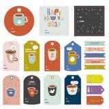 Klistermärkear för hälsning för tappningjul och för nytt år royaltyfri illustrationer