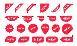 Klistermärkear för ny ankomst shoppar produktetiketter, etiketter eller försäljningsaffischer och symboler för banervektorklister stock illustrationer