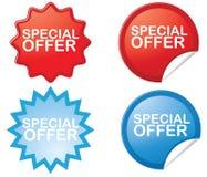 Klistermärkear för specialt erbjudande Arkivfoton