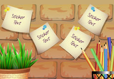 Klistermärkear för text med en blomkruka på en tegelstenbakgrund arkivbild