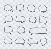 Klistermärkear för vektorhandattraktion av anförandebubblor fodrar uppsättningen på genomskinlig bakgrund stock illustrationer