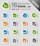 Klistermärkear - File formaterar symboler Arkivbild