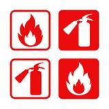 Klistermärkear flamma och brandsläckare för vektor för brandsäkerhet Arkivbild