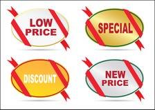 Klistermärkear - lågpris, sakkunnig, nytt pris, rabatt, nytt pris Royaltyfri Fotografi